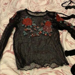Mesh with roses shirt